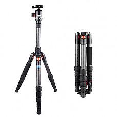 [해외]Travel Tripod, Buddiesman Compact Folding Carbon Fiber Tripod 360° Panorama Ball Head DSLR Cameras (Twist Lock, Black, DT2551T)