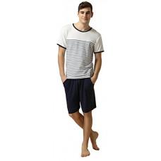 [해외]QianXiu Summer Short Sleeve Classic Stripes Pajama Set For Men,White,X-Large