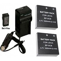 [해외]TWO 2 BP-DC8 BP-DC8E Batteries + Charger for Leica X1 Digital 카메라 BPDC8 BPDC8E