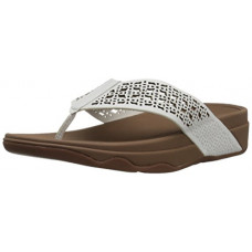 [해외]핏플랍 Womens Leather Lattice Surfa Floral FLIP Flops, Urban White, 9 M US
