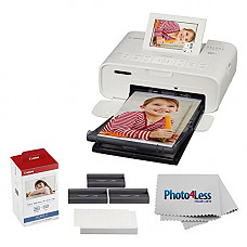 [해외]캐논 SELPHY CP1300 Compact Photo Printer (White) + 캐논 KP-108IN Color Ink and Paper Set + Photo4Less Cleaning Cloth – Deluxe Printing Bundle