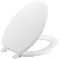 [해외]콜러 변기시트, 비스킷 KOHLER K-4694-0 Ridgewood Molded-Wood with Color-Matched Plastic Hinges Elongated Toilet Seat, White