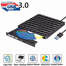 [해외]External DVD Drive USB 3.0 Burner,Optical CD DVD RW Row Reader Writer Player Portable for PC Mac OS Windows 10 7 8 XP Vista (Black)