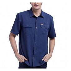 [해외]오비스 Mens Short Sleeve Woven Tech Shirt (Navy Solid, M)