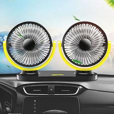 360도 회전 3단조절 USB 트윈 차량용 선풍기