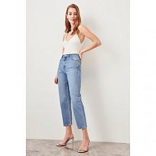 Trendyol Blue Black High Waist Boyfriend Jeans Straight-leg Casual Denim Ankle-length Pant TWOSS19LR0176