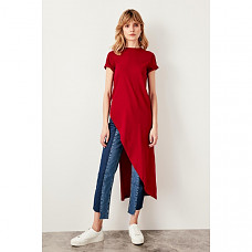 Trendyol Burgundy Asymmetrical Knitted Blouse TWOSS19VG0116