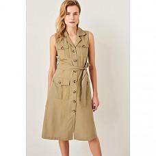 Trendyol Summer Green Solid Button Linen Casual Sleeveless Notched Dress TWOSS19IE0060