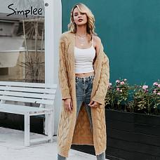 Simplee  femme 2019 여성 롱가디건 스웨터