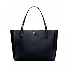 토리버치 버클 토트 Tory Burch Emerson Large Buckle Tote Saffiano Leather Handbag 49125 (Black)