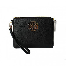 토리버치 가죽 파우치 Tory Burch Britten Large Pebbled Leather Zip Pouch Wristlet (Black)