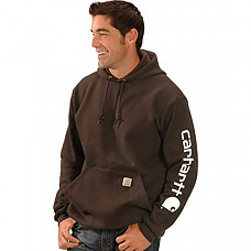 칼하트 미드웨이트 슬리브 로고 후드티 Carhartt Men's Midweight Sleeve Logo Hooded Sweatshirt (Regular and Big & Tall Sizes) - Dark Brown