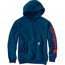 칼하트 미드웨이트 슬리브 로고 후드티 Carhartt Men's Midweight Sleeve Logo Hooded Sweatshirt (Regular and Big & Tall Sizes) - Superior Blue