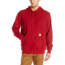 칼하트 미드웨이트 슬리브 로고 후드티 Carhartt Men's Midweight Sleeve Logo Hooded Sweatshirt (Regular and Big & Tall Sizes) - Dark Crimson