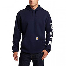 칼하트 미드웨이트 슬리브 로고 후드티 Carhartt Men's Midweight Sleeve Logo Hooded Sweatshirt (Regular and Big & Tall Sizes) - Navy (Closeout)