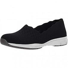 [해외] 스케쳐스 여성 클래식 로퍼 Skechers Women's Seager-Stat-Scalloped Collar, Engineered Skech-Knit Slip-on-Classic Fit Loafer - Black/White