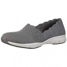 [해외] 스케쳐스 여성 클래식 로퍼 Skechers Women's Seager-Stat-Scalloped Collar, Engineered Skech-Knit Slip-on-Classic Fit Loafer - Grey