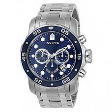[해외] 인빅타 남성 프로다이버 아날로그 시계 Invicta Men's 0070 Pro Diver Collection Analog Chinese Quartz Chronograh Silver-Tone/Blue Stainless Steel Watch