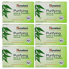 [해외] 히말라야 비누 Himalaya Purifying Neem & Turmeric Cleansing Bar (6 PACK) for Clean and Healthy Looking Skin, 4.41 Oz/125 gm