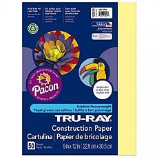 [해외] Pacon 공작종이 Tru-Ray Heavyweight Construction Paper, Light Yellow, 9