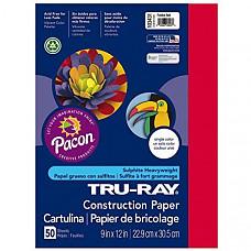 [해외] Pacon 공작종이 Pacon Tru-Ray Heavyweight Construction Paper, Festive Red,  9