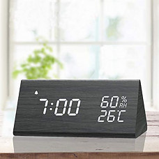 [해외] 디지탈 알람 목재 형태 시계, LED 표시, 습도 및 온도 감지 JALL Digital Alarm Clock, with Wooden Electronic LED Time Display, 3 Alarm Settings, Humidity & Temperature Detect, Wood Made Electric Clocks for Bedroom, Bedside, Black