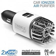 [해외] 차량용 냄새 및 바이러스 제거 이온화 방식 공기정화기(USB충전방식) TWINKLE BIRDS Car Air Purifier Ionizer - 12V Plug-in Ionic Anti-Microbial Car Deodorizer with Dual USB Charger - Smoke Smell, Pet and Food Odors, Allergens, Viruses Eliminator for Car