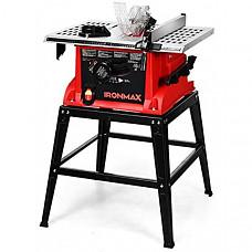 [해외] Goplus Table Saw, 10-Inch 15-Amp Portable Table Saw, Cutting Speed Up to 5000RPM, 45º Double-Bevel Cut, 36T Blade, Aluminum Table, Benchtop Table Saw with Metal Stand, Sliding Miter Gauge