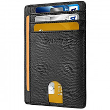 [해외] Buffway 슬립 미니 RFID 포켓 가죽 지갑 Slim Minimalist Front Pocket RFID Blocking Leather Wallets for Men Women - Cross Black