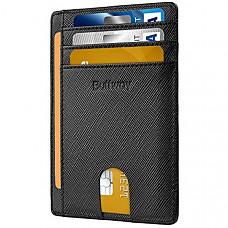 [해외] Buffway 슬립 미니 RFID 포켓 가죽 지갑 Slim Minimalist Front Pocket RFID Blocking Leather Wallets for Men Women - Cross Black