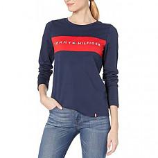 [해외] 타미힐피거 여성 로고 크루넥 롱 슬리브 티셔츠 Tommy Hilfiger Womens Long Sleeve Crew Neck Logo Tee(Deep Navy)